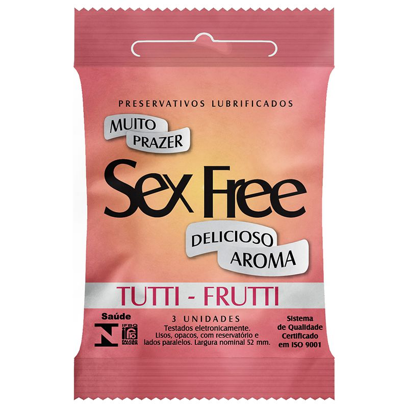 Preservativo Lubrificado Sex Free - Aroma Tutti - Frutti