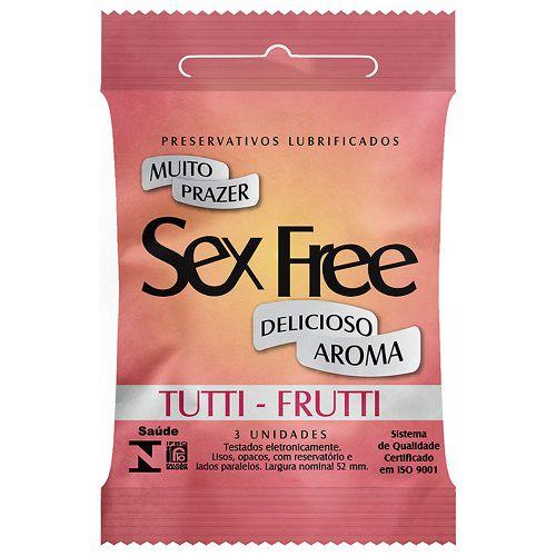 PRESERVATIVO LUBRIFICADO SEX FREE - AROMA TUTTI FRUTTI