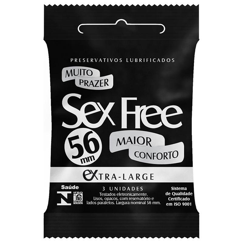 PRESERVATIVO LUBRIFICADO SEX FREE - EXTRA LARGE