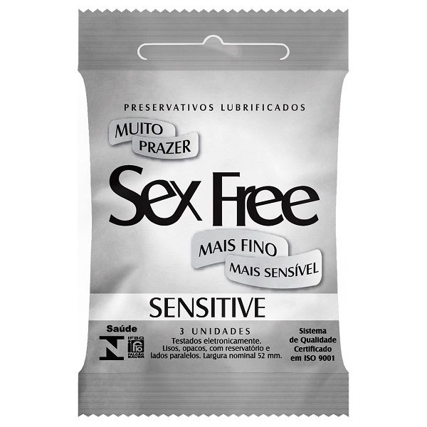 Preservativo Lubrificado Sex Free - Sensitive