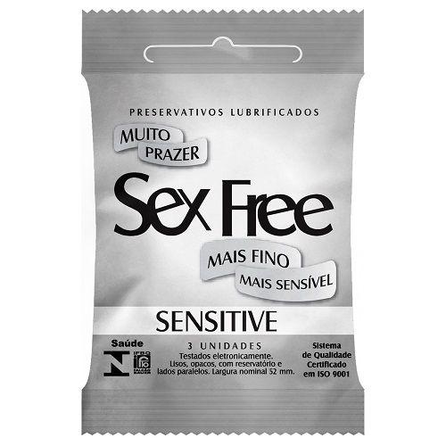 Preservativo Lubrificado Sex Free Sensitive - com 3 unidades