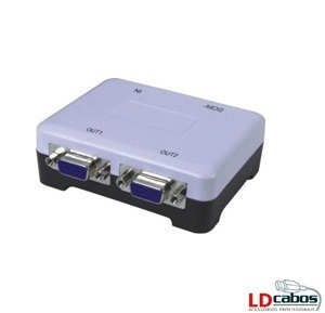 Distribuidor VGA 1 X 2 Amplificado 250 Mhz  - LD Cabos Soluções Áudio e Vídeo