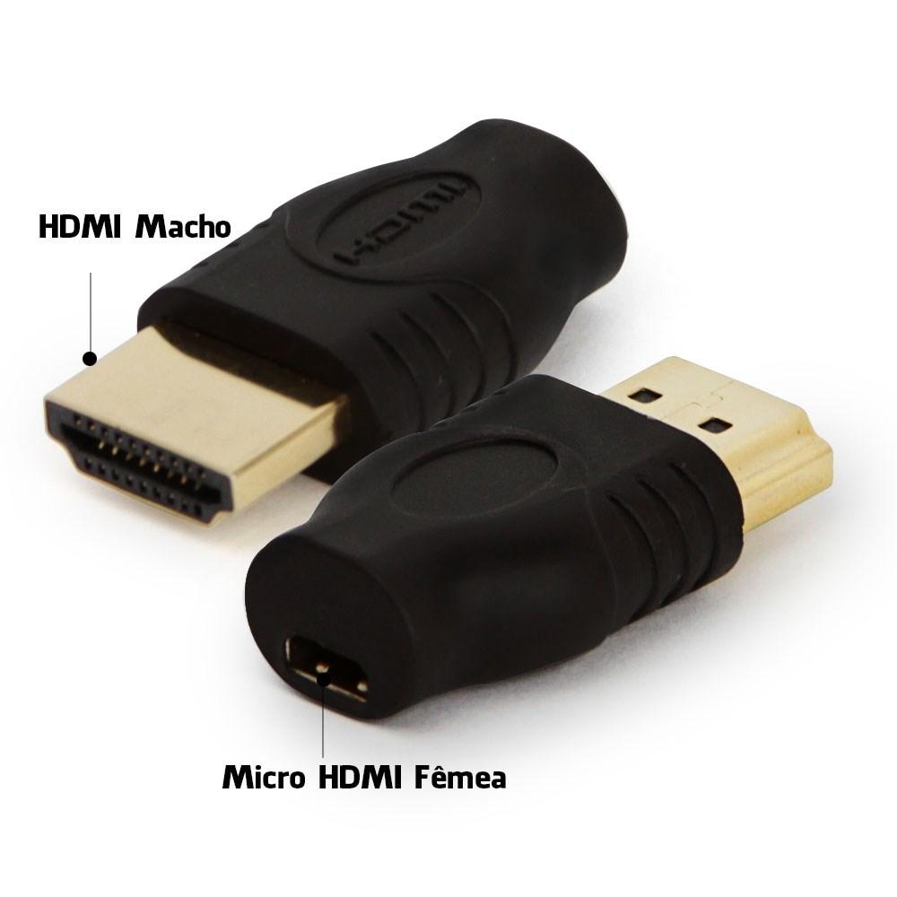 Adaptador Micro HDMI Fêmea Para HDMI Macho  - LD Cabos Soluções Áudio e Vídeo