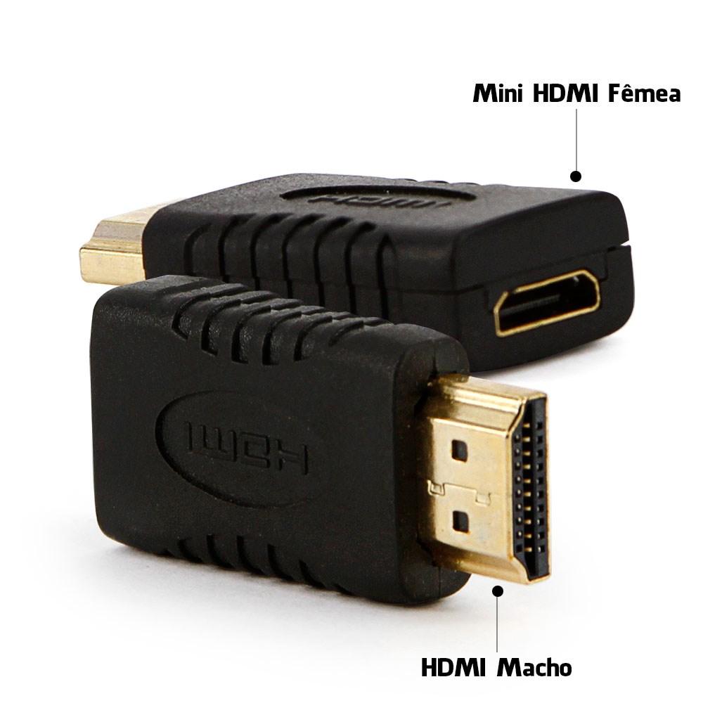 Adaptador Mini HDMI Fêmea Para HDMI Macho  - LD Cabos Soluções Áudio e Vídeo
