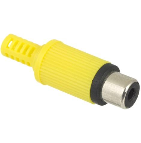 Conector RCA Fêmea Amarelo Plástico Para Cabo  - LD Cabos Soluções Áudio e Vídeo