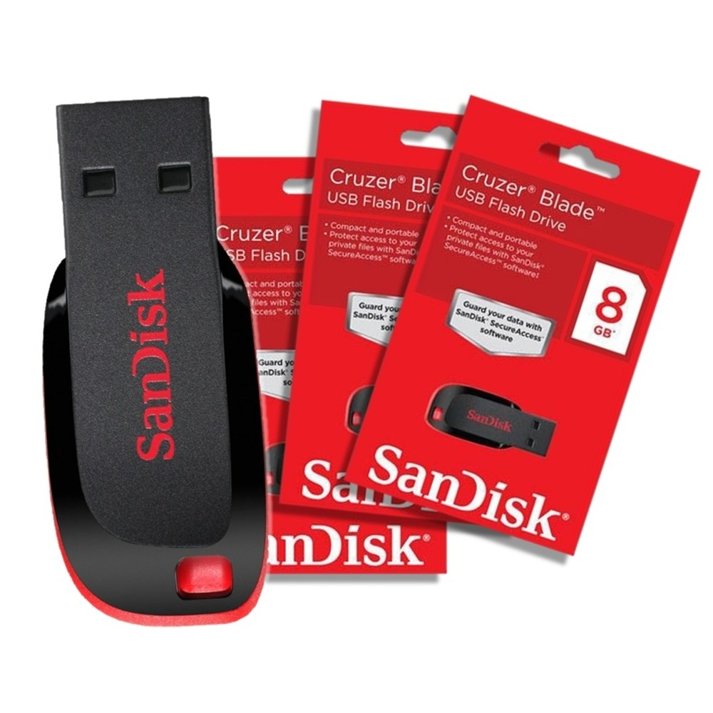 Pen Drive SanDisk Cruzer Blade 8GB  - LD Cabos Soluções Áudio e Vídeo