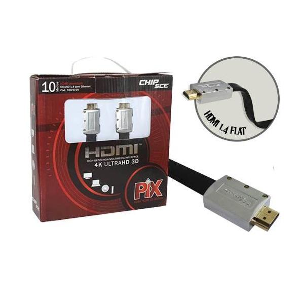 CABO HDMI FLAT 10 METROS 1.4 4K ULTRAHD 19 PINOS  - LD Cabos Soluções Áudio e Vídeo