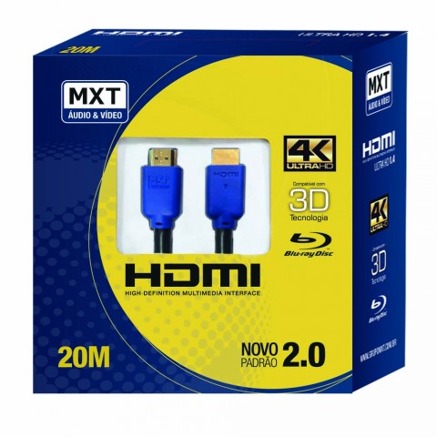 Cabo hdmi versão 2.0, 19 Pinos 4k Ultra HD 3D- 20 Metros MXT  - LD Cabos Soluções Áudio e Vídeo