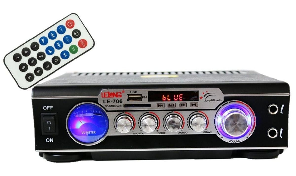 Amplificador Para Som Ambiente Bluetooth Usb Karaokê FM - LE706  - LD Cabos Soluções Áudio e Vídeo