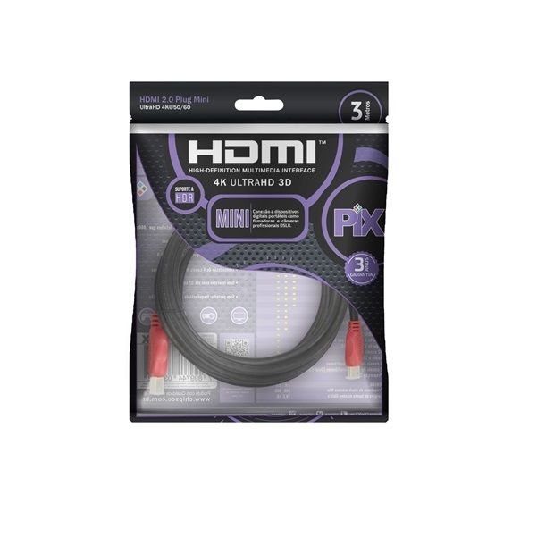 Cabo Mini HDMI Para HDMI 3 - Metros  - LD Cabos Soluções Áudio e Vídeo