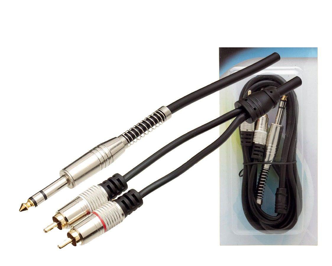 Cabo P10 Estéreo Para 2 RCA Profissional 1.8 - Metros  - LD Cabos Soluções Áudio e Vídeo