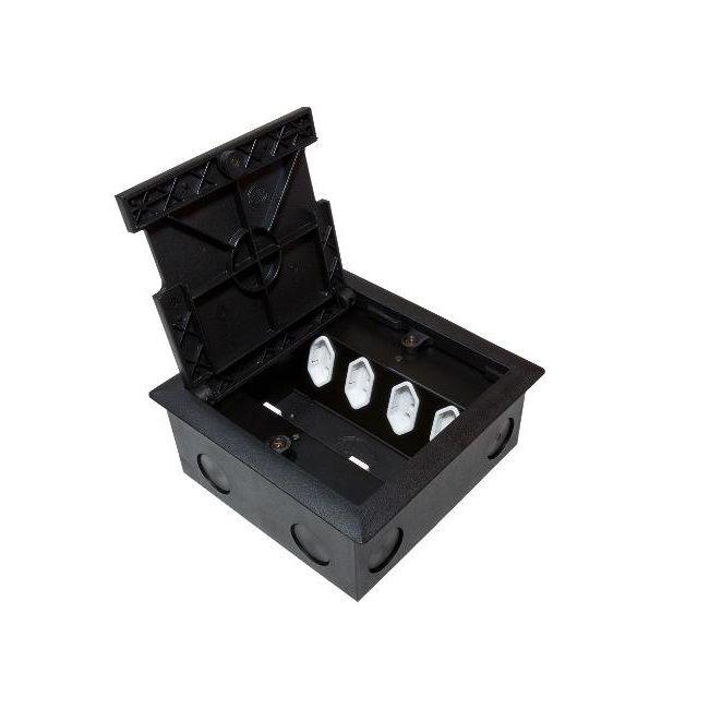 Caixa De Tomada Para Piso e Contra Piso 4 Pontos Elétricos 4 Dados - SPE 2703S  - LD Cabos Soluções Áudio e Vídeo