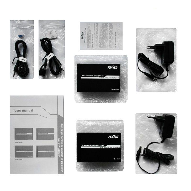 Extensor HDMI 80 Metros CAT 6 Profissional IR Controle - Feasso  - LD Cabos Soluções Áudio e Vídeo