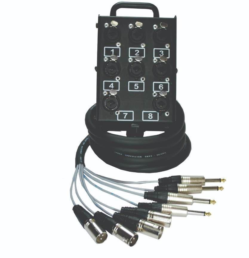 Medusa 8 Vias Montada Conectores XLR Combo P10 Profissional - 10 Metros  - LD Cabos Soluções Áudio e Vídeo