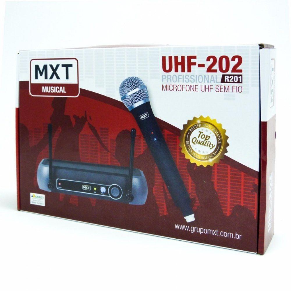 Microfone Sem Fio UHF-202 Profissional R201 - MXT  - LD Cabos Soluções Áudio e Vídeo