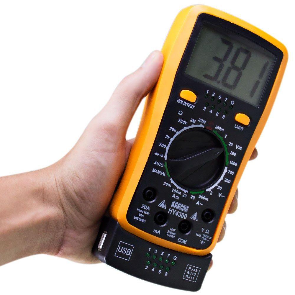 Multímetro Digital com Teste de Rede e Usb HY4300  - LD Cabos Soluções Áudio e Vídeo