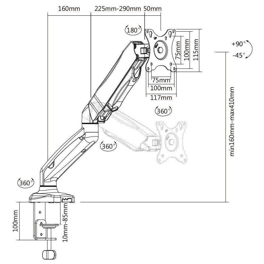 Suporte Articulado de Mesa com Pistão a Gás e Ajuste de Altura para Monitores de 17 a 27 - F80N  - LD Cabos Soluções Áudio e Vídeo