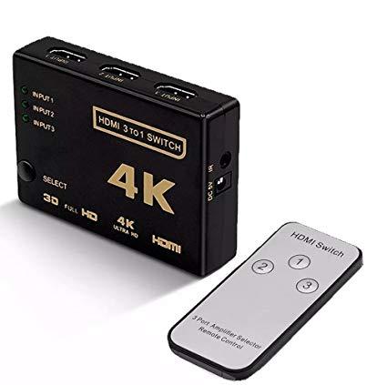 Switch hdmi 3 Entradas 1 Saída 4K Com Controle  - LD Cabos Soluções Áudio e Vídeo