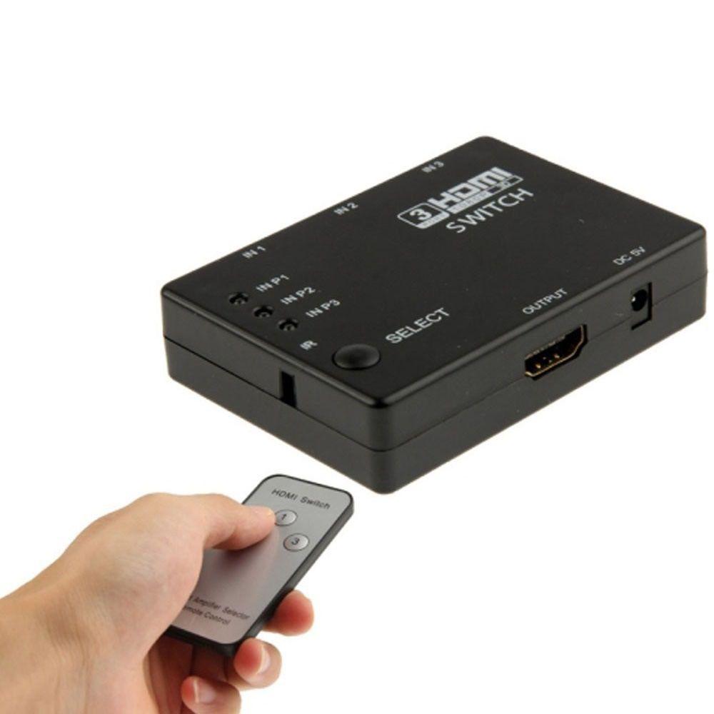 Switch hdmi 3 Entradas 1 Saída Com Controle  - LD Cabos Soluções Áudio e Vídeo