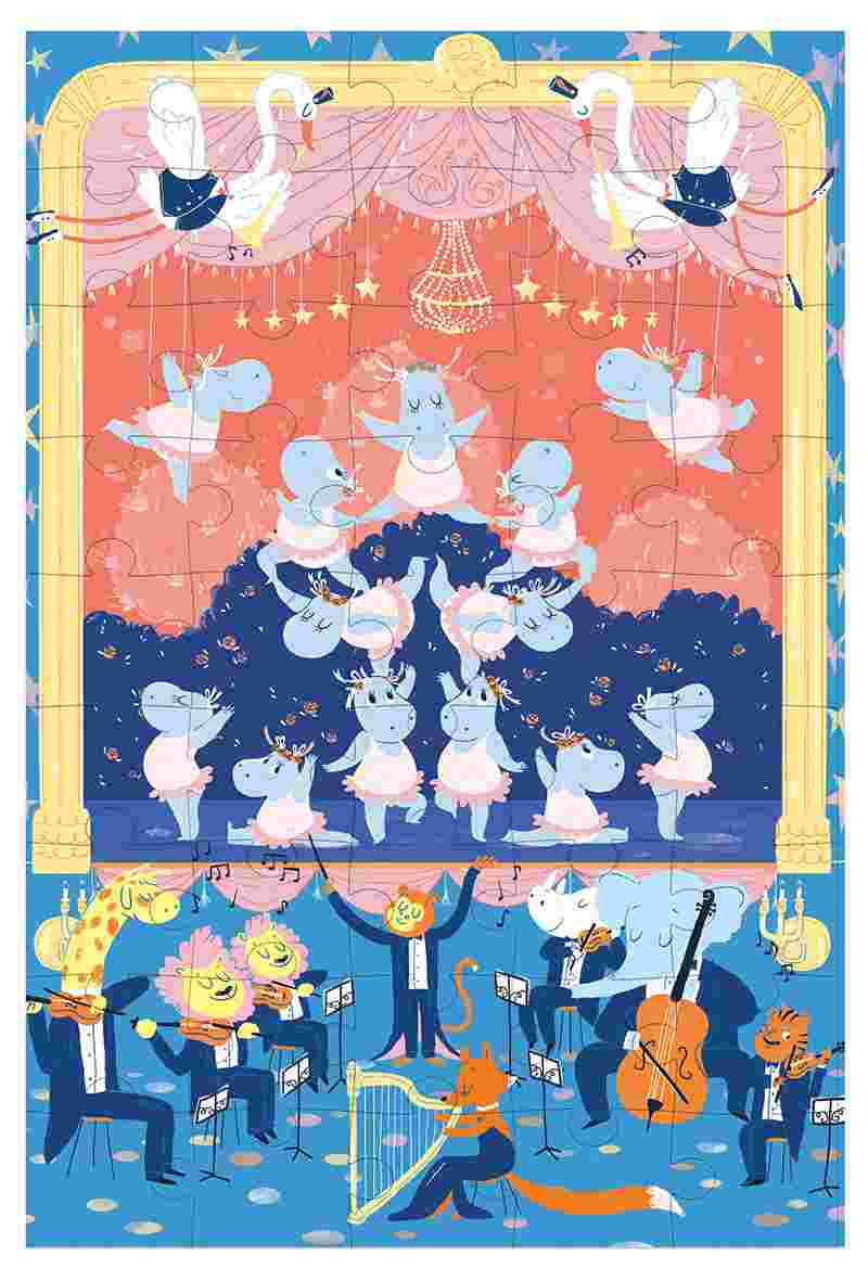Quebra Cabeça na Maletinha Krooom - Ballet de Animais