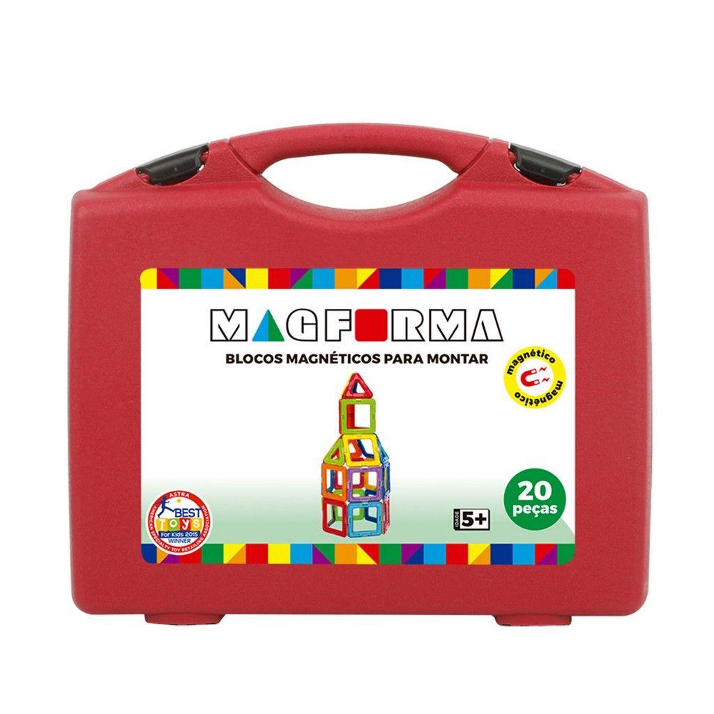 Brinquedo de montar  Jogo Magnético Em Maleta Vazado 20 Peças MagForma
