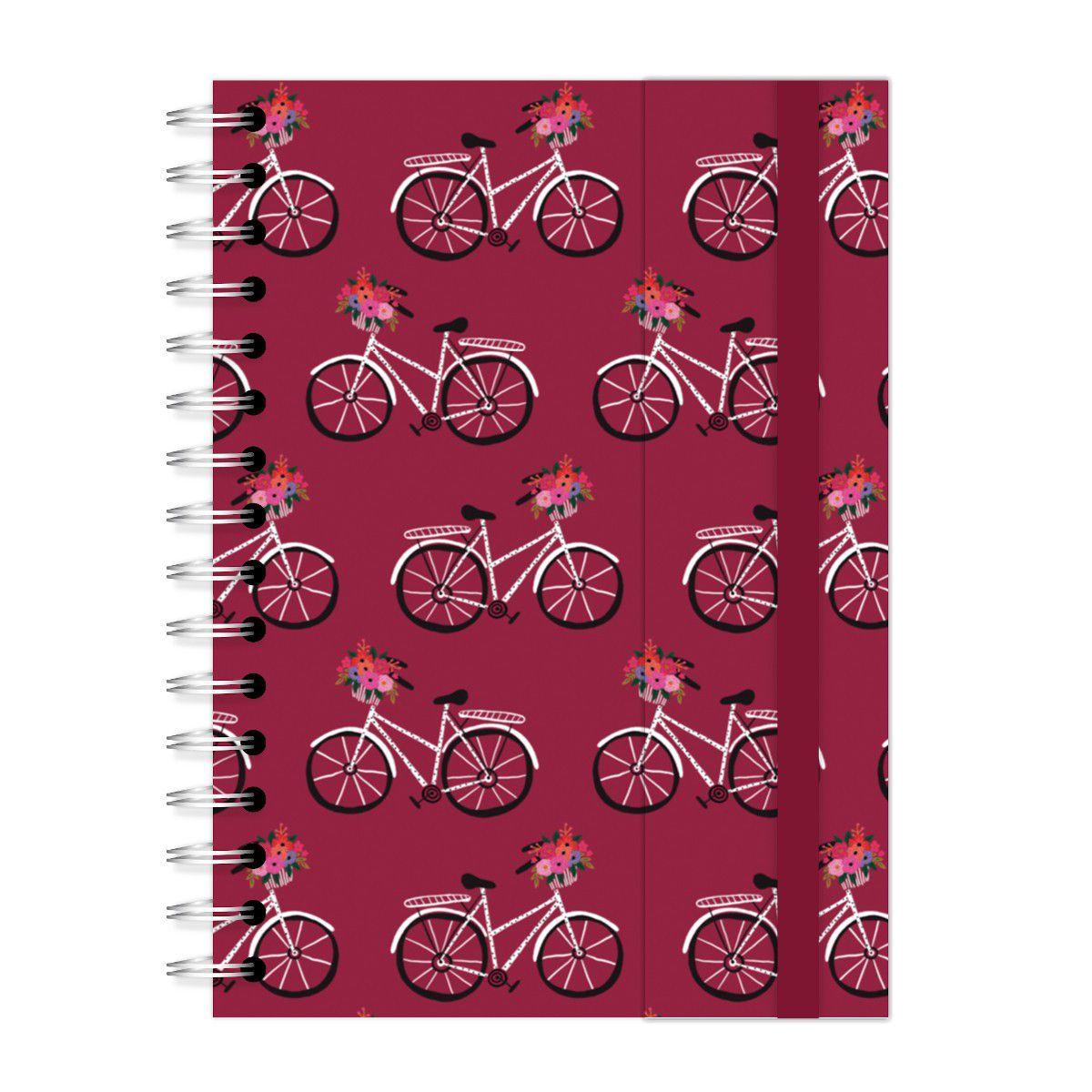 Caderno A5 com aba Bicicleta Vinho Lubi