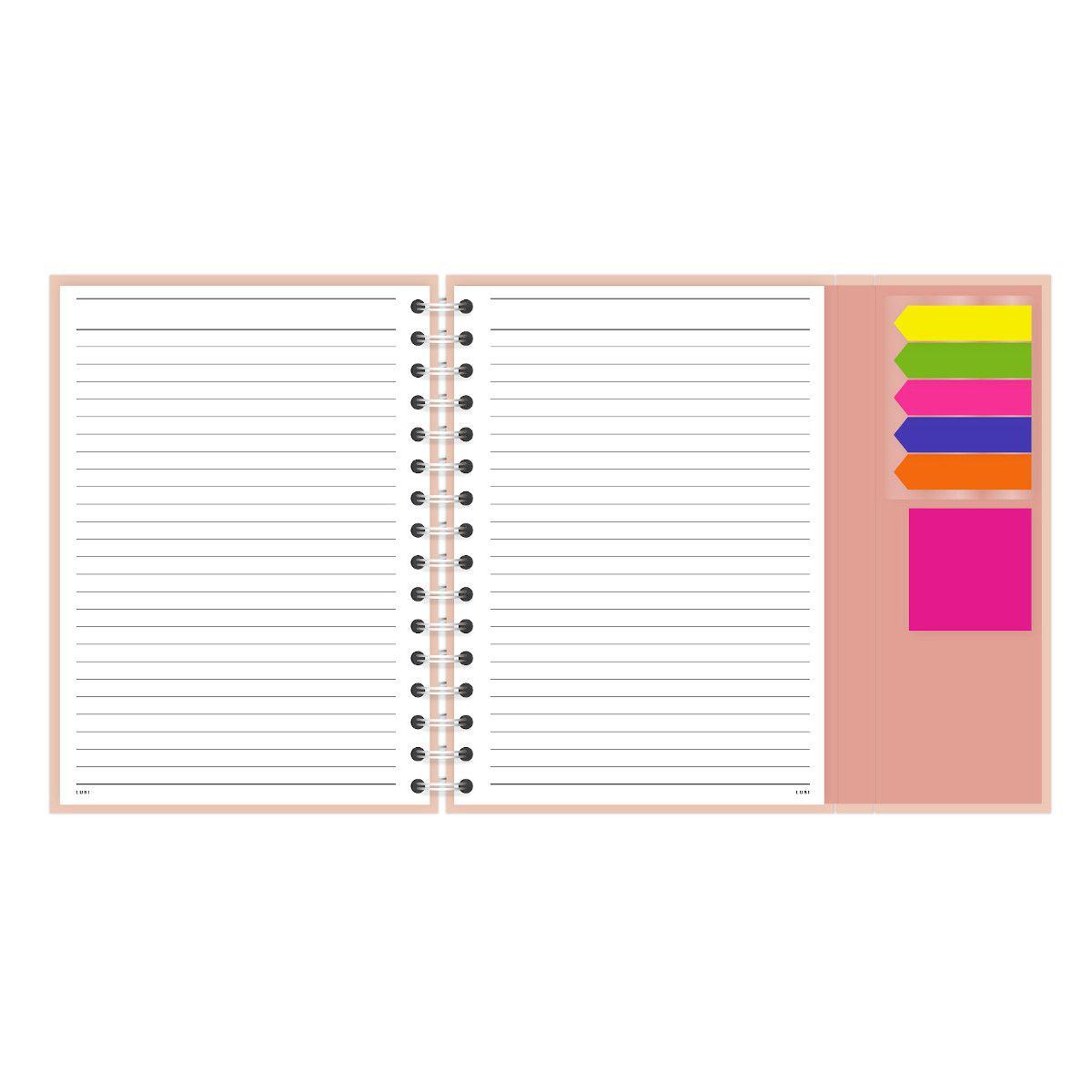 Caderno A5 com aba Gato Rose Lubi