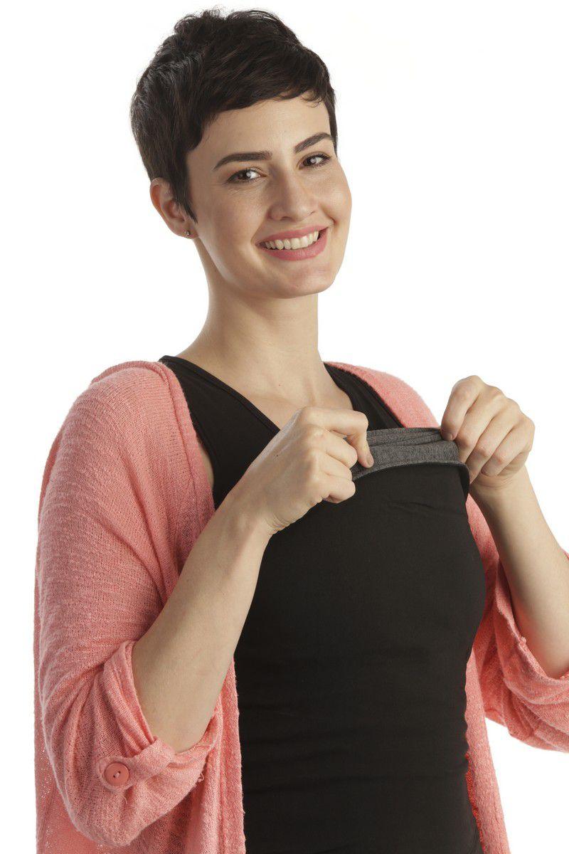 Camiseta Canguru Regata Feminina Preta Penka