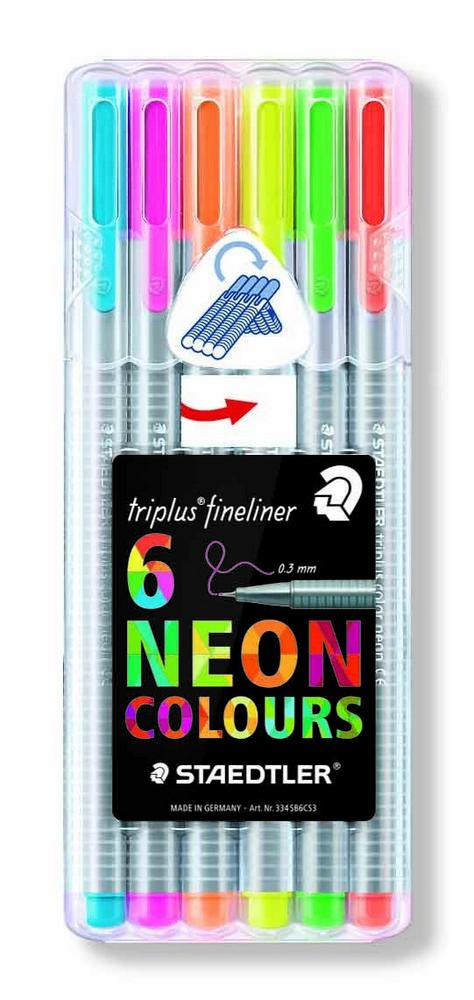 Caneta Triplus Fineliner Neon 6 Cores Staedtler