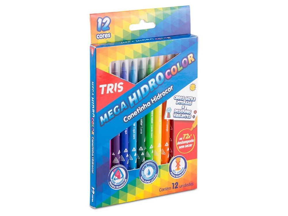 Canetinha Mega Hidro Color 12 Cores Tris