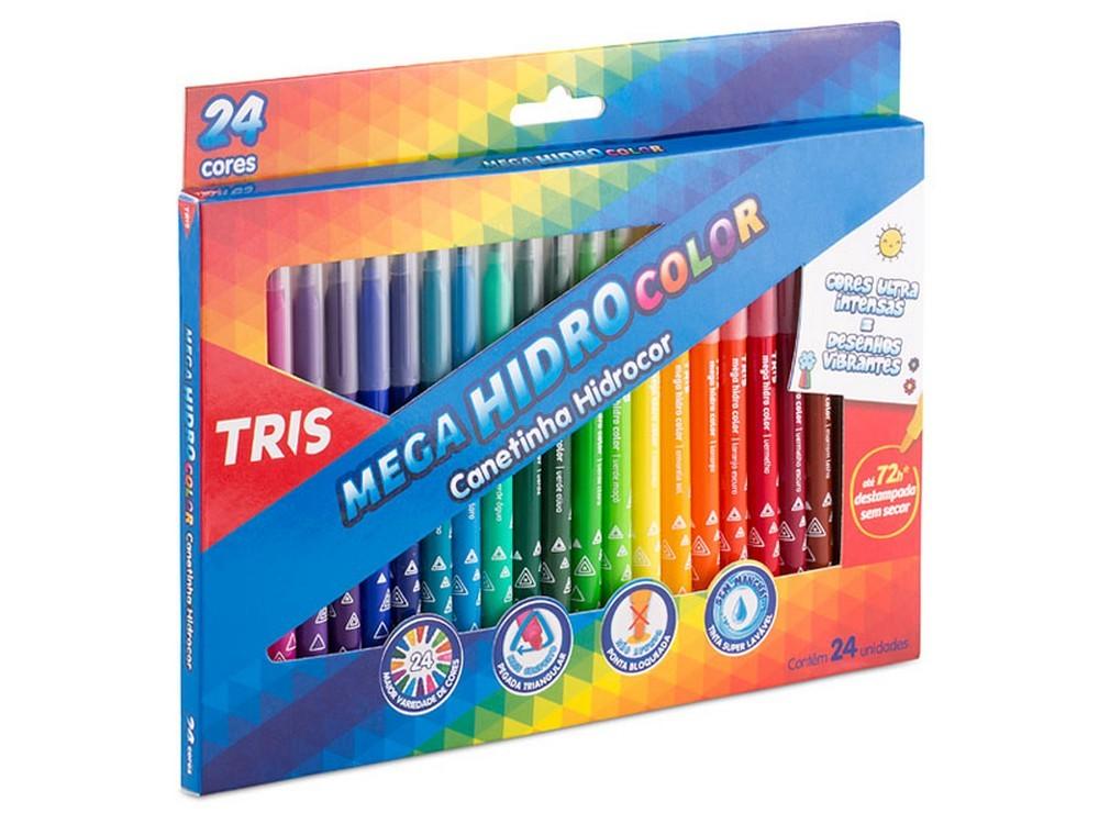 Canetinha Mega Hidro Color 24 Cores Tris