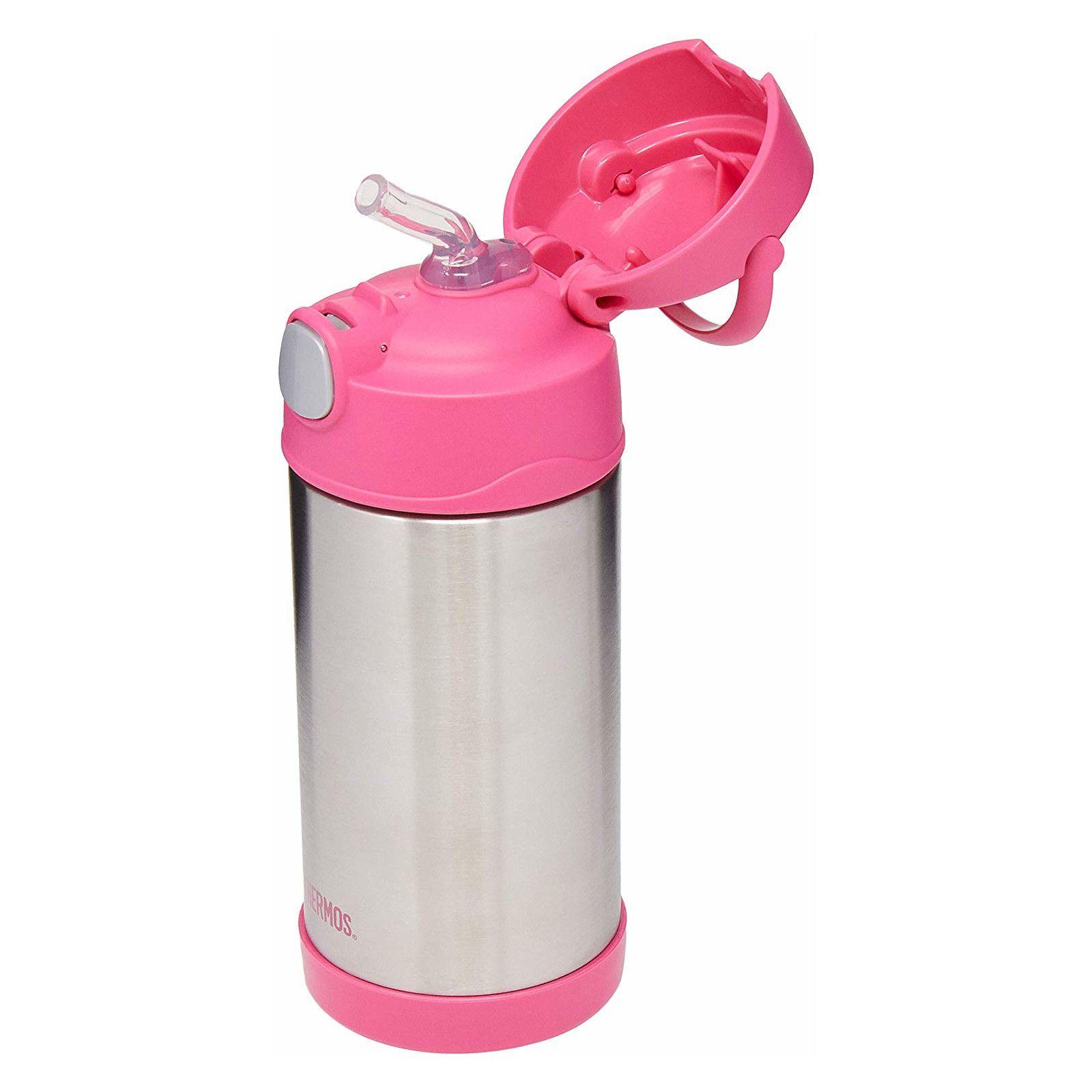 Garrafinha Térmica Funtainer 355 ml Rosa e Inox Thermos