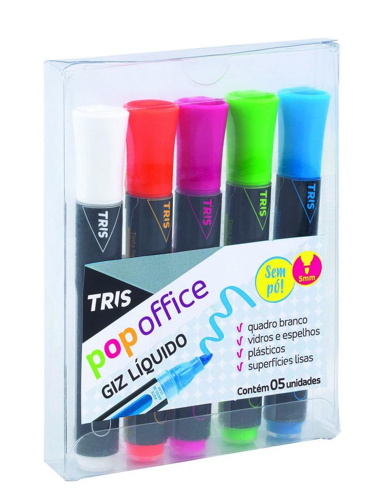 Giz Liquido Pop Office 5 cores Tris