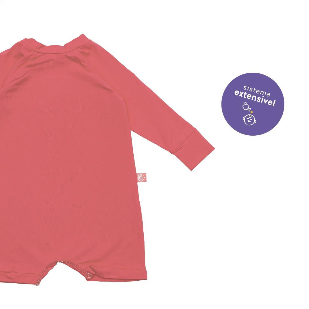 Macacão Curto com Proteção FPS50+ Rosa Concuca