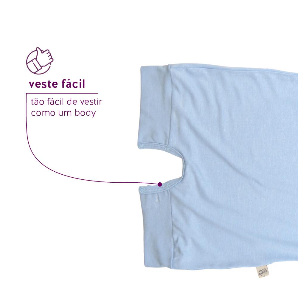 Macacão Curto Modal Extensível Frozen Azul Concuca