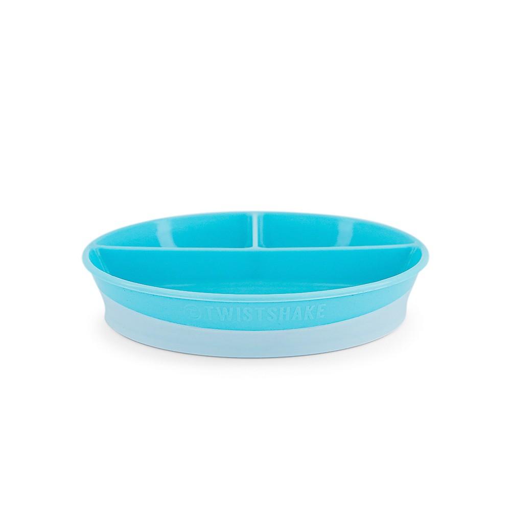 Prato com divisória e tampa Azul Twistshake