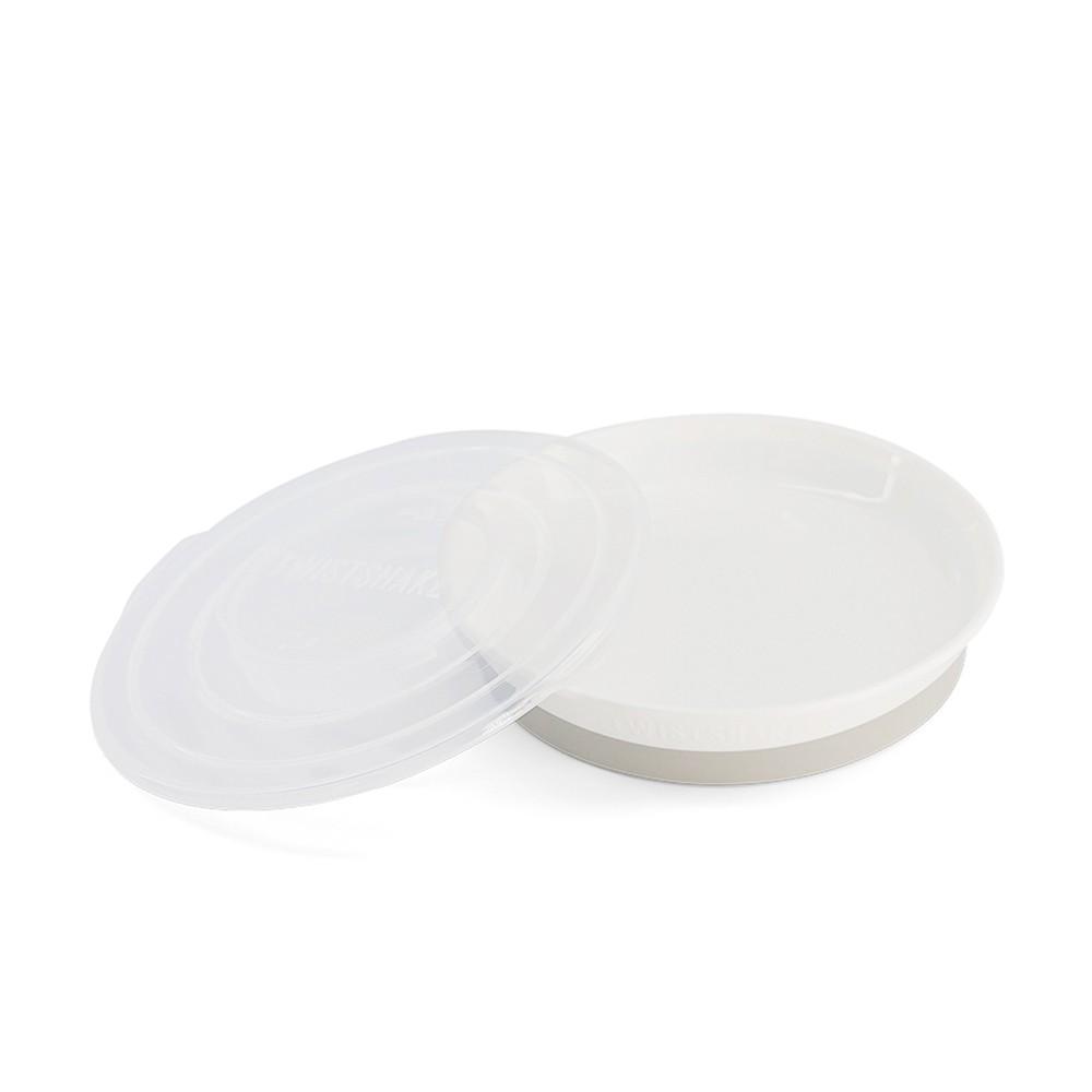 Prato raso com tampa Branco Twistshake