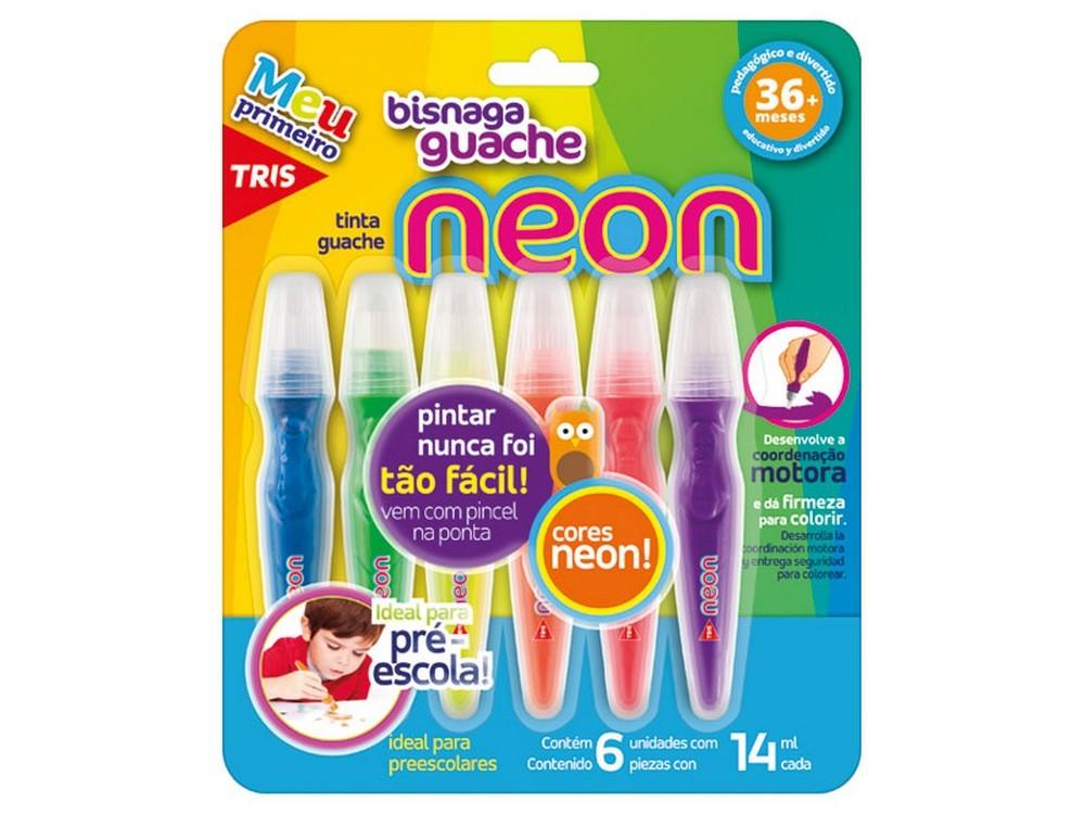 Tinta Guache Bisnaga Neon 6 Cores Tris