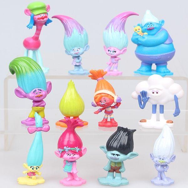 Bonecos Brinquedo 12un Filme Desenho Trolls Animação para crianças