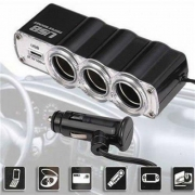 Adaptador Extensão Carregador Veicular Triplo para Acendedor para Carro 3 Saídas 12V/24V + 1 USB 5V para Automóvel