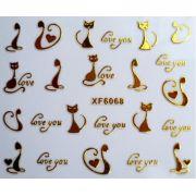 Adesivo de unhas dourado ouro 3D zip borboleta corte gato amor decorações transferência
