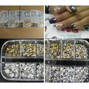 Strass Arte na unha 6 estilos de pedras 3D cor prata e ouro
