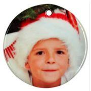 Enfeite de Natal Redondo em cerâmica Personalizado 2 lados