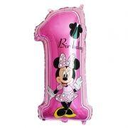 Balão de aniversário Mickey Minnie Número 1 anos decorativo 75cm