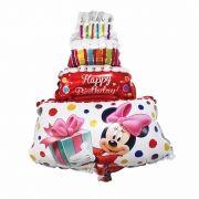 Balão de Aniversário Mini Bolo Minnie Mickey dos Desenhos Disney