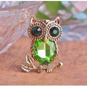 Broche Crystal de Coruja Fashion Liga Chapeado Tipo Ouro Antigo