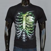 Camisa Coração de Dinheiro Esqueleto Toráx Preta 100% Algodão