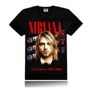 Camisa Rock NIRVANA Heavy Metal 3D Algodão Casual Kurt Cobain