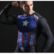 Camiseta Fitness Super heróis 3D Masculina Molda no Corpo Flash Capitão América Super Homen