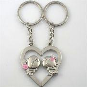 Chaveiro Metálico Casal 2 em 1 Coração Dividido Amor